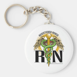 RN Caduceus Green Keychain