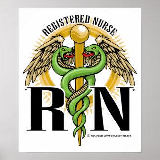 RN Caduceus Green Posters