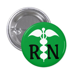 RN Caduceus Medical Icon Stylized Pinback Button