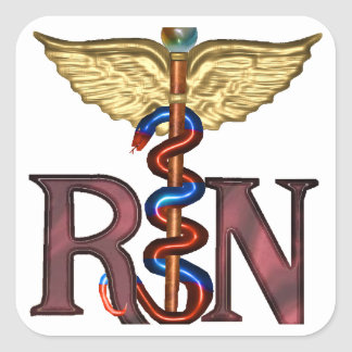 RN Caduceus Square Sticker