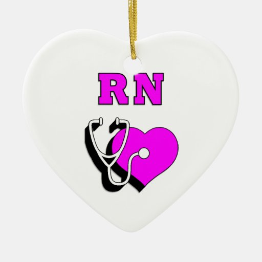 RN Care Double-Sided Heart Ceramic Christmas Ornament