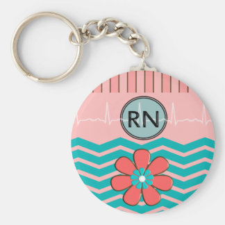 RN Chevron Pattern Pink and Blue Keychain