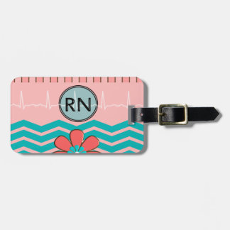 RN Chevron Pattern Pink and Blue Luggage Tags