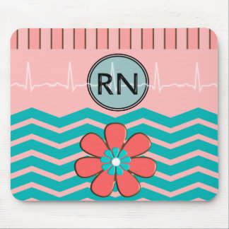 RN Chevron Pattern Pink and Blue Mouse Pad