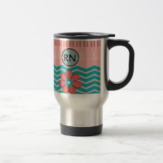 RN Chevron Pattern Pink and Blue Travel Mug