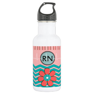 RN Chevron Pattern Pink and Blue Water Bottle