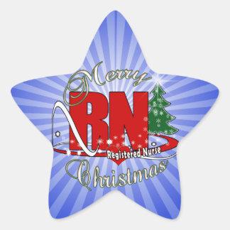 RN CHRISTMAS Registered Nurse Star Sticker