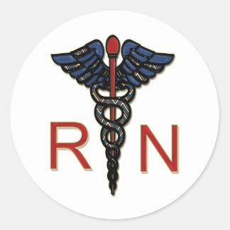 RN con el caduceo Etiquetas Redondas