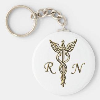 RN Gold Basic Round Button Keychain