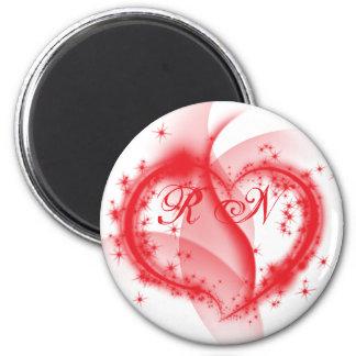 RN heart 2 Inch Round Magnet