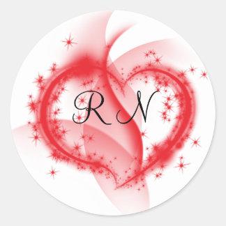 RN heart Classic Round Sticker