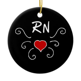 RN Love Tattoo Christmas Ornament also For LPN Nurses