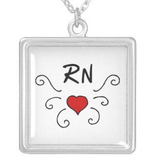 RN Love Tattoo Square Pendant Necklace