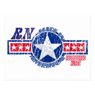 RN MADE IN AMERICA - REGISTERED NURSE PATRIOTIC POSTCARD