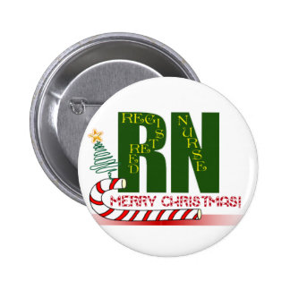 RN MERRY CHRISTMAS REGISTERED NURSE 2 INCH ROUND BUTTON