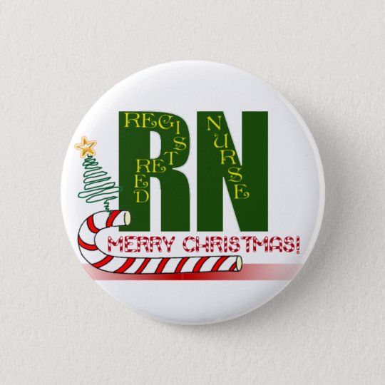 RN MERRY CHRISTMAS REGISTERED NURSE BUTTON