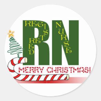 RN MERRY CHRISTMAS REGISTERED NURSE CLASSIC ROUND STICKER