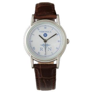 RN Monogram Blue White Face Nurse Watch