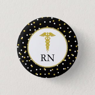 RN nurse graduation party favor, gold confetti Button
