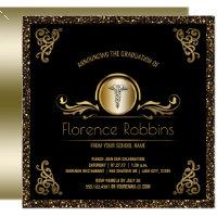 RN Nurse Graduation Party | Gold Pinning Ceremony Card