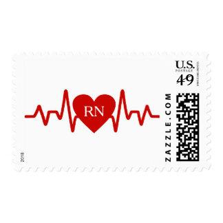 RN nurse heart pulse postage stamp