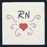 "RN Nurse Love Tattoo Stone Coaster<br><div class=""desc"">RN love tattoo features red heart full of love for nurses and the nursing profession.  Gifts for RN&#39;s,  LPN&#39;s and nurse t-shirts with medical symbols.</div>"