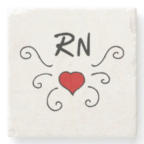 RN Nurse Love Tattoo Stone Coaster