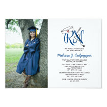 RN Nurse photo graduation pinning party / navy Card
