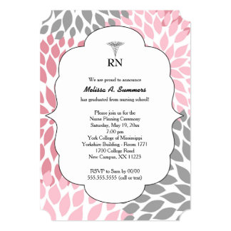 RN Nurse pinning ceremony invites pink gray floral