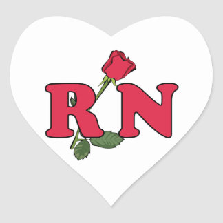 RN Nurse Rose Heart Sticker