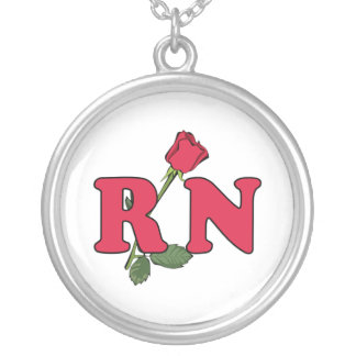 RN Nurse Rose Round Pendant Necklace