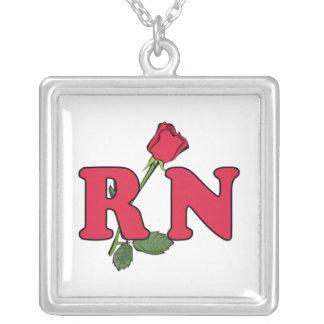RN Nurse Rose Square Pendant Necklace