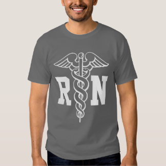 RN nurse t shirt with caduceus symbol