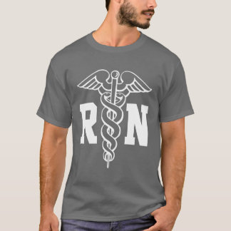 RN nurse t shirt with caduceus symbol