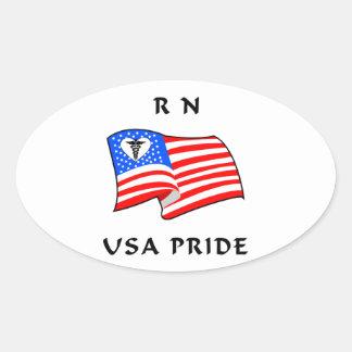 RN Nurses USA Pride Oval Sticker