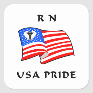 RN Nurses USA Pride Square Sticker