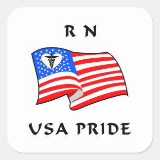 RN Nurses USA Pride Square Sticker
