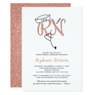 RN Nursing Graduation Rose Gold Pinning Invitation