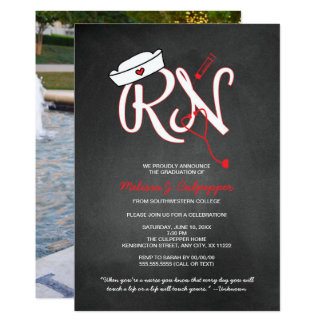 RN PHOTO nurse graduation party pinning chalkboard Card