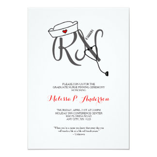 RN Pinning Ceremony Invite, fun nurse graduation Card