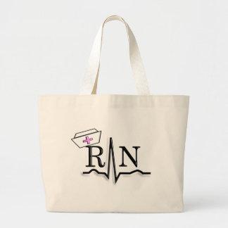 RN QRS Nurse Cap Design Large Tote Bag