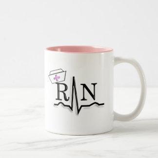 RN QRS Nurse Cap Design Two-Tone Coffee Mug