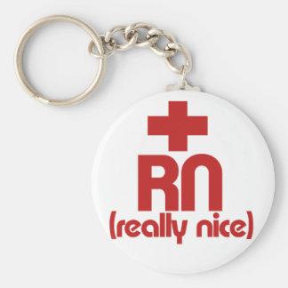 RN Really Nice Nurse Graduation Basic Round Button Keychain
