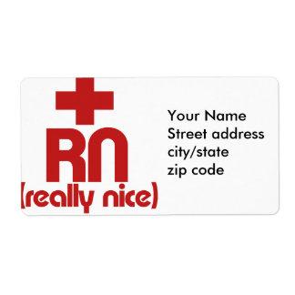 RN Really Nice Nurse Graduation Label