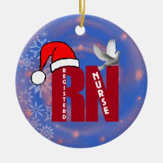 RN REGISTERED NURSE CHRISTMAS ORNAMENT SANTA HAT