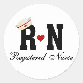 RN Registered Nurse Classic Round Sticker