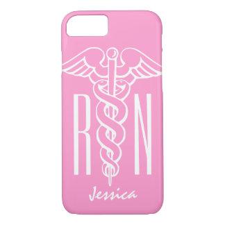 RN Registered Nurse iPhone 7 case   Pink caduceus