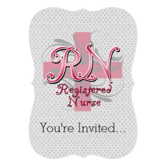 RN Registered Nurse, Pink Cross Swirls Card