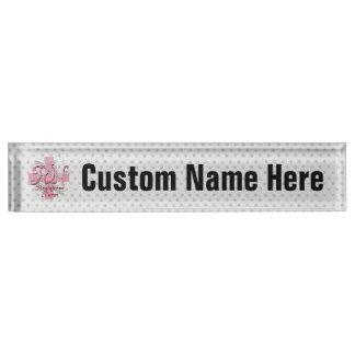 RN Registered Nurse, Pink Cross Swirls Desk Name Plate