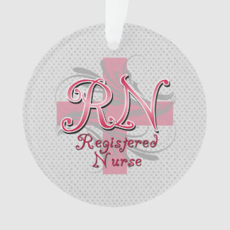 RN Registered Nurse, Pink Cross Swirls Ornament